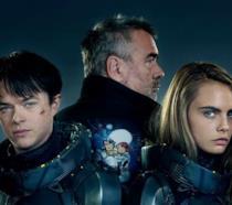 Luc Besson, Cara Delevingne e Dane DeHaan in una foto del film Valerian