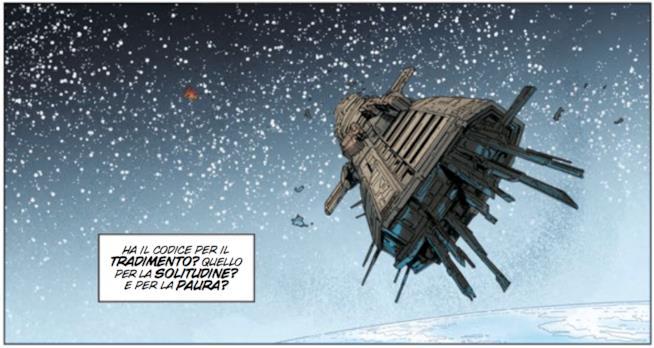 Tavola di Aliens #5 con la nave spaziale Europa