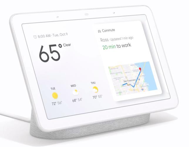 Google Home Hub mostra alcune informazioni come meteo e traffico