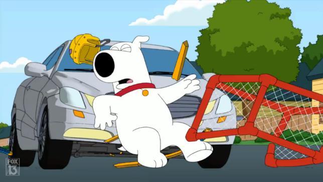 Brian investito da un'auto ne I Griffin