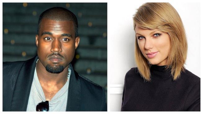 Primo piano di Kanye West e Taylor Swift