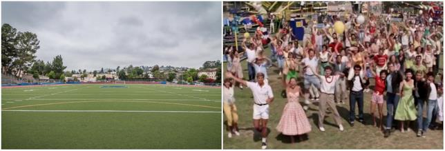 La scena finale di Grease nel campo sportivo